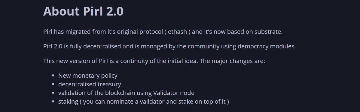 Детали обновления сети Pirl