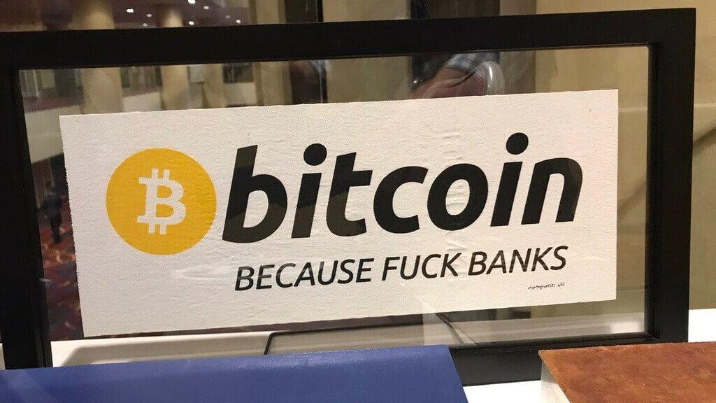 Биткоин банки вывеска